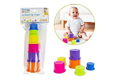 First Steps - 6 Coloured Stack Up Cups - Ideal