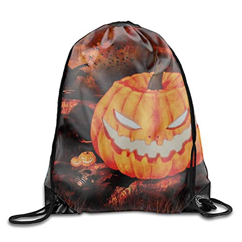 Naiyin Holiday Halloween Weird Artistic Drawstring Gym Bag - Waterproof for Sports & Workout Gear Sackpack Backpack Holiday Halloween Jack-o-Lantern Raven Tree S8 -