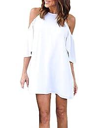 Estate Vestiti Donna Casual Tinta Unita Mini Vestito da Spiaggia Eleganti Corta  Abiti Moda Rotondo Collo 17f1993498e
