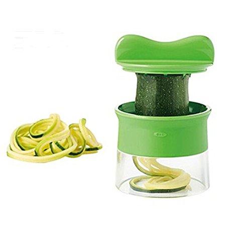 Mini Küchenmaschine Premium Klein Spiralschneider Hand für Gemüsespaghetti Kartoffel BÜNDEL Kochbuch mit die Bürste für die Reinigung-Zucchini,Gurkenschneider,Gurkenschäler,Möhrenreibe,Möhrenschäler,Gemüsehobel Grün