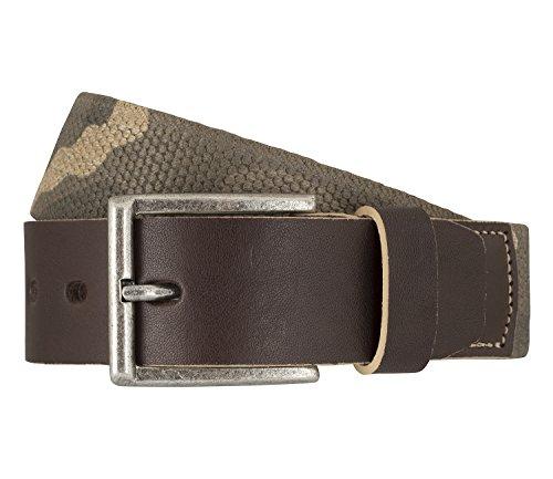 LLOYD Men's Belts Elastischer Textilbandgürtel mit Vollrindledergarnitur Beige 7197, Farbe:Braun, Länge:100