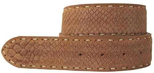 Brazil Lederwaren Gürtel mit Pythonprägung ohne Schließe 4,0 cm Python-Prägung Hochwertig Schlangen-Muster Reptil-Prägung ohne Schnalle Riemen, Bundweite 110, Tabac (Snake Print Schnalle)