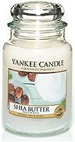Yankee candle 1332212E Shea Butter Candele in giara grande, Vetro, Bianco, 10x9.8x16.2 cm