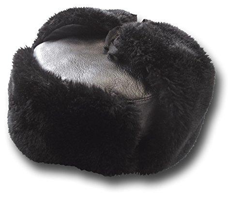 Russian Officers style leather sheepskin hat, black