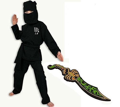 Fries Karneval Kostüm Ninja schwarz mit Lego Chima -