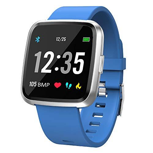 EFO SHM Smartwatch Fitness Tracker Armband Wasserdicht Fitness Uhr Pulsmesser Touchscreen Sport Armbanduhr Blutdruckmessung Aktivitätstracker für Damen Herren Andriod iPhone(Blau)