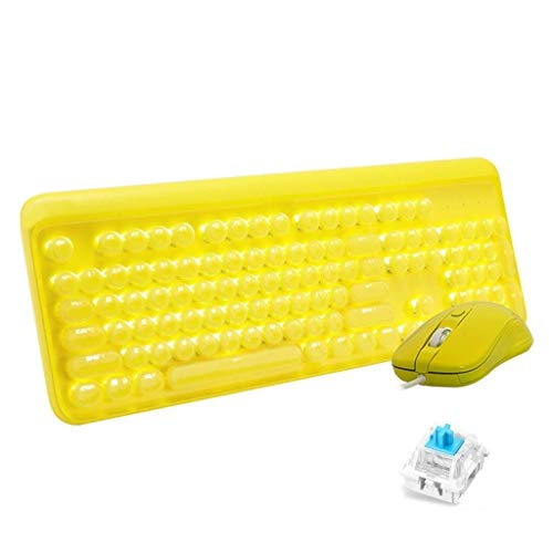 YEMOPDB Gaming Keyboard Mouse - Mechanisch Verkabeltes USB - Tastatur- Und Mausset - Hintergrundbeleuchtung - PC/Laptop/MAC (Color : Yellow) (Mac Wars Guild)