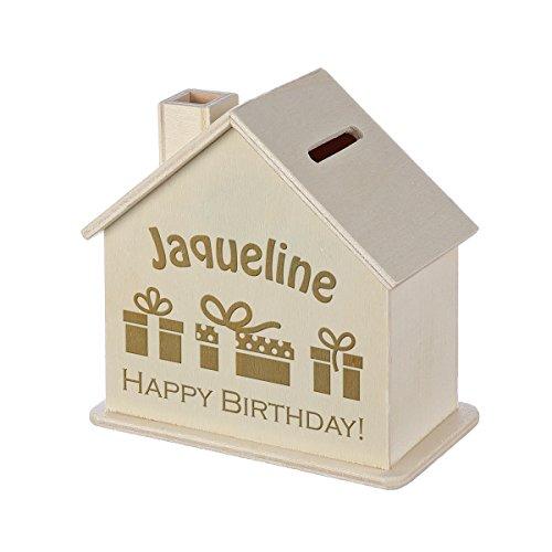 Spardose Haus mit Gravur - Sparbüchse aus Holz - Geschenk für jeden Anlass - Motiv Happy Birthday