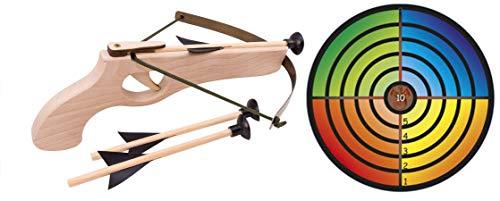 Armbrust Set - Zielscheibe bunt - 1 Scheibe 32cm + 1 Armbrust mit 3 Pfeilen 32cm
