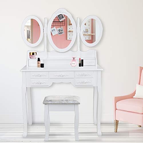 Hengda Tocador Mesa Maquillaje tocador Blanco con Espejo y Taburete,Espejo Plegable 3 Piezas, 7 Cajones y Taburete Acolchado Estilo Romántico