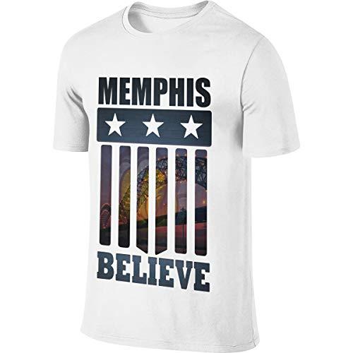 Klassiker glauben an Memphis Slogan Männer Kurzarm T-Shirt Grizzly Kleidung T-Shirt Grizzly Kleidung Tops für Männer Weiß 3XL