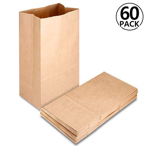 60 pcs Bolsas de Papel Kraft con Base, Rymall Bolsas de Papel Kraft para Alimentos Ideal para Bolsas de Regalo, Bolsas de Fiesta, Calendario de Adviento, 12 x 7 x 21 cm, 70 gr./m2