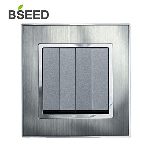 BSEED Wandleuchte Screwless Switch 4 Gang 1 Way Brushed Steel Lichtschalter Double Light Switch Silber