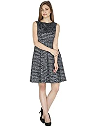 Ishvi Grey Cotton Printed Fit and Flare Women's Dress