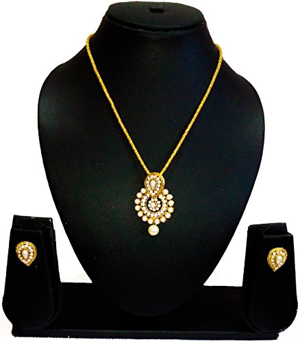 KAAYRA Designer Gold Plated Pearl Necklace Set / Pendant Set With Earring For Girls And Women  available at amazon for Rs.234