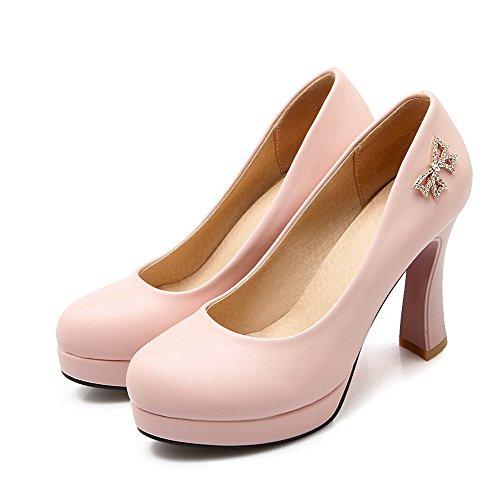 AllhqFashion Damen Eingelegt Pu Hoher Absatz Rund Zehe Ziehen Auf Pumps Schuhe Pink