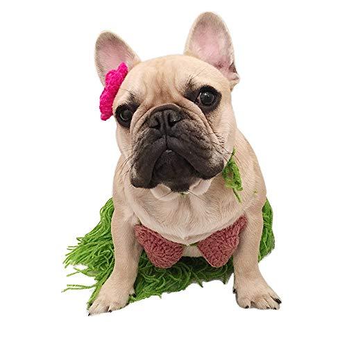 ni-Kostüm für Hunde, Polynesischer Hula-Mädchen, Cosplay für Halloween, Weihnachten, Party, BH, Rock mit Blumen-Clip, Lei Set für Welpen und Katze ()