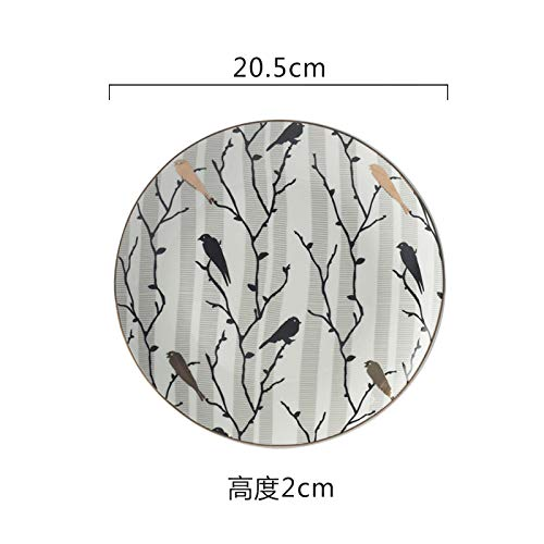 Creative home disc neue vogel muster teller geschirr keramikteller tägliche keramik frühstück teller 20,5x2 cm (Vogel Muster, Geschirr)