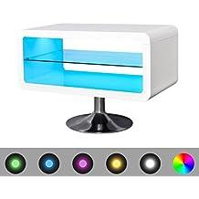 vidaXL Mesita para TV color blanco brillante con luces LED, 80 cm