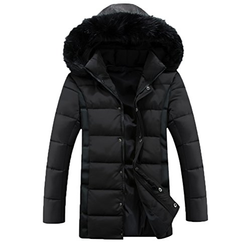 Zhhlinyuan Manteaux Men's Plus Thicken Winter Coat with stand-up Collar Long Coat Outerwear Black
