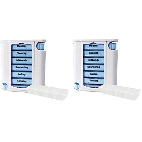 com-four 2x dispensador de medicamentos de 7 días azul/blanco con 2 latas de píldoras en el camino (2 piezas + caja de pastillas)