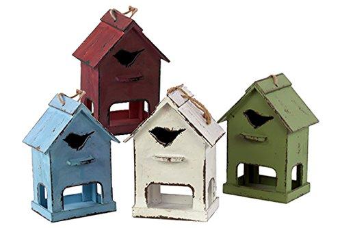 Distressed Finish (Urban Trends Holz Vogelhaus mit Vogel Loch Distressed Finish (Sortiment von 4), Sky Blau/Rot/Olive Drab/weiß)