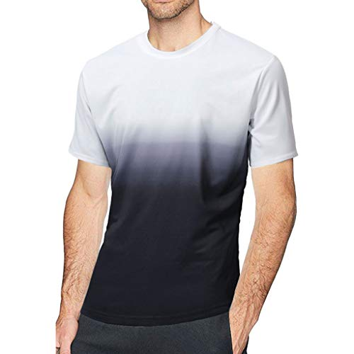 Mymyguoe Herren T-Shirt Patchwork Farbe Einfarbig Kurzarm Bluse O-Ausschnitt Modische Farbverlauf Tie Dye Bequem Top Bluse Slim Fit Elastische Freizeit Sport Große Größen Gym Shirt Kurzarmshirt
