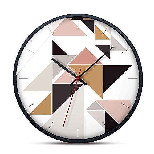 KUVV Pünktlich Farbe Nähen Dreieck Muster 12 Zoll Einfache Moderne Stil Wanduhr Wohnzimmer Dekoration Kreative Uhr Anti-Fog Leicht Zu Reinigen Arbeitszimmer Wohnzimmer -