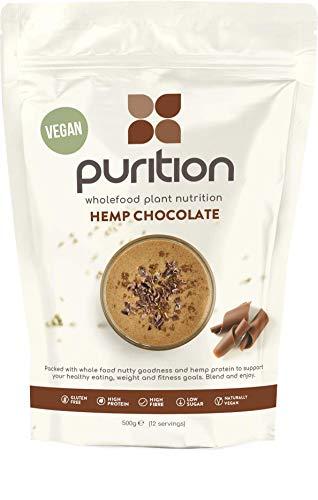 Purition frullato proteico Vegano al Cioccolato (500gr) Integratore proteico per una sana perdita di peso e recupero post allenamento – Sostituto di un pasto con il 100% di ingredienti naturali e senza glutine