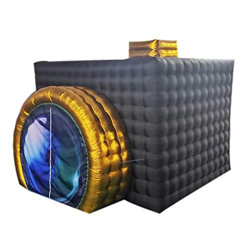 Enwepoeo Tragbare aufblasbare Fotokabine (11,5 x 9,2 x 8,2 ft),Aufblasbare Fotokabinenschale mit 17-farbigen LED-Leuchten für Hochzeiten, Partys, Veranstaltungen und Ausstellungen,Black&Gold -