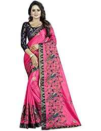 Shreeji Designer Women's Papper Silk Fabric Ari Embroidery Work Saree With Jacquard Blouse Piece SD-2235