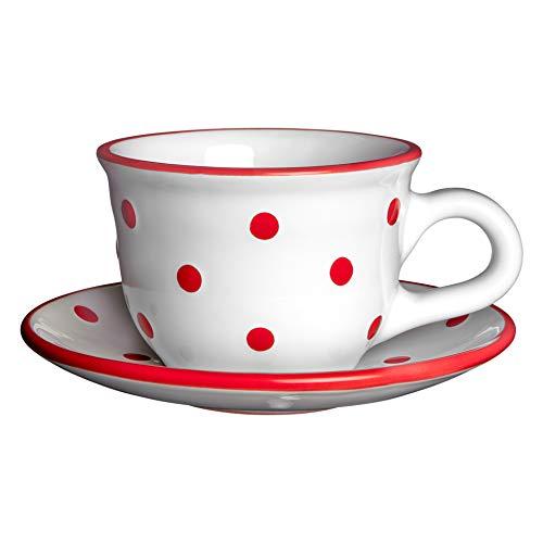 City to Cottage | Tasse et sous tasse à café, à thé | blanche à pois rouges en céramique faite et peinte à la main | 250ml