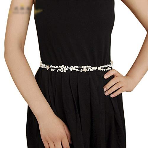 Matilda530 Brautgürtel Strass Süßwasser-Zuchtperlen Kleid Zubehör Bauchkette (Farbe : Grau)