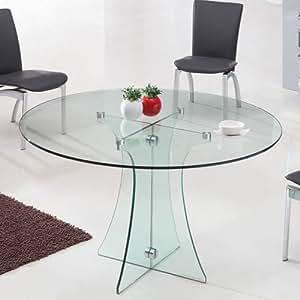 Tavolo rotondo in vetro diametro 120 cm trasparente for Tavolo vetro allungabile amazon