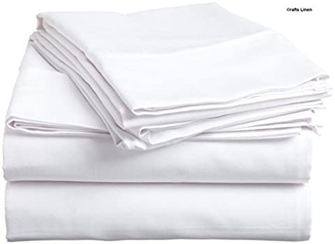 Crafts Linen Egyptian Cotton 400-Thread-Count Sateen One Fitted Sheet Euro Ikea King (+33 CM) Pocket Depth, White Solid by Crafts Linen