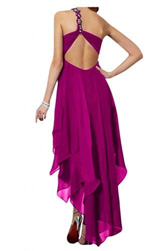 Toscana sposa lieb Rueckenfrei Hi-Lo Ling Chiffon stanotte vestimento per damigella Party ball vestimento Viola