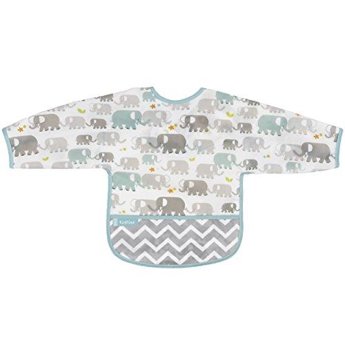 Kushies Cleanbib - Babero con mangas 6-12m - Elefantes