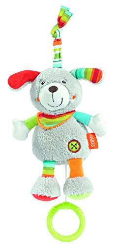 Fehn 086102 Mini-Spieluhr Hund / Kuscheltier mit integriertem Spielwerk mit sanfter Melodie zum Aufhängen an Kinderwagen, Babyschale oder Bett, für Babys und Kleinkinder ab 0+ Monaten