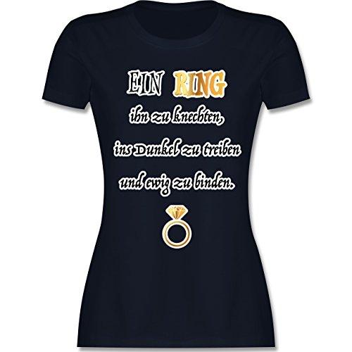 Shirtracer JGA Junggesellinnenabschied - ein Ring. JGA - Damen T-Shirt Rundhals Navy Blau