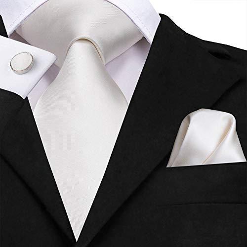 WOXHY Herren Krawatte Sn-3139 White Solid Tie 8,5 cm Seide Jacquard gewebt Männer Krawatte Plain Krawatte Manschettenknöpfe Set Hochzeit Classic Einstecktuch Krawatte (Plain Männer Krawatten)