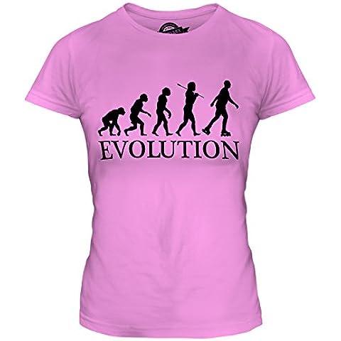 CandyMix Pattinaggio In Linea Evoluzione Umana T-Shirt da Donna Maglietta