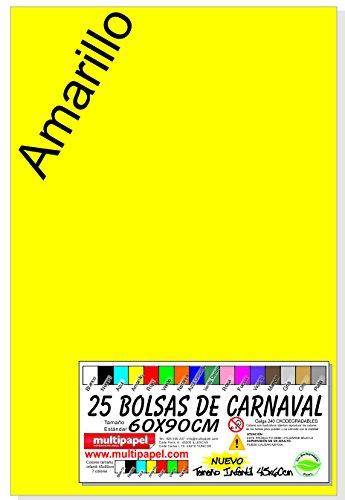 BOLSA PLASTICO CARNAVAL PAQUETE 25 BOLSAS 60X90CM (AMARILLO)