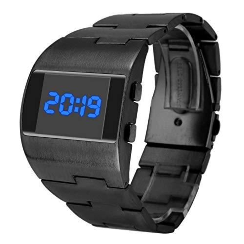 Yivise Relojes para Hombre Fresco Moda Guapo Ancho Dial Steel Belt Sport Monocromo Digital Reloj de Pulsera