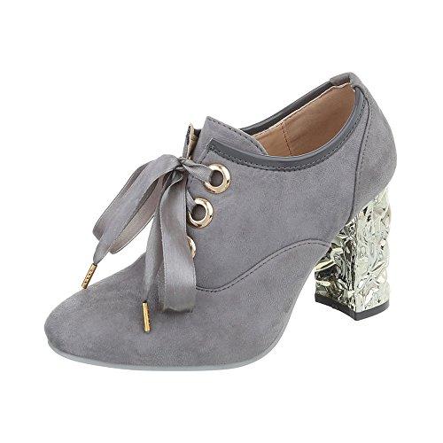 Ital-Design Ankle Boots Damen-Schuhe Ankle Boots Pump High Heels Schnürsenkel Stiefeletten Grau, Gr 39, 88-7-