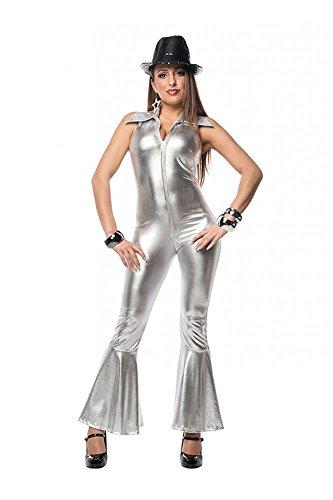 (shoperama 70er Jahre Disco Catsuit in Gold oder Silber für Seventies Kostüm, Größe:36;Farbe:Silber)
