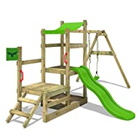 Fatmoose RabbitRally Racer XXL Climbing Frame Playhouse with 2 Platform Heights, Sand Pit, Swing and Slide