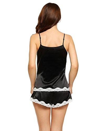 Ekouaer Damen Schlafanzug Kurz Satin Nachtwäsche Spitzenbesatz Pyjama Shorts Und Top Zweiteiliger Hausanzug Schwarz