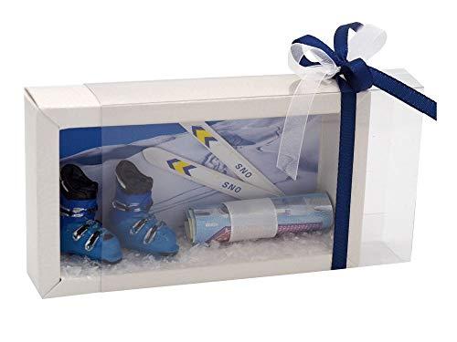 ZauberDeko Geldgeschenk Verpackung Skiurlaub Skischuhe Ski Winterurlaub Geldverpackung Weihnachten Gutschein