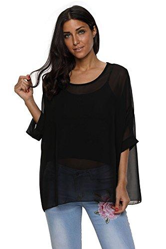 Oksakady camicetta donna estate -blusa in chiffon taglie forti maglia elegante e casual con stampa floreale (one size, boho-4324)