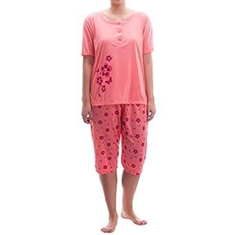 Lucky Capri Pyjama - mit Blütendruck, Größe:XXL;Farbe:Orange